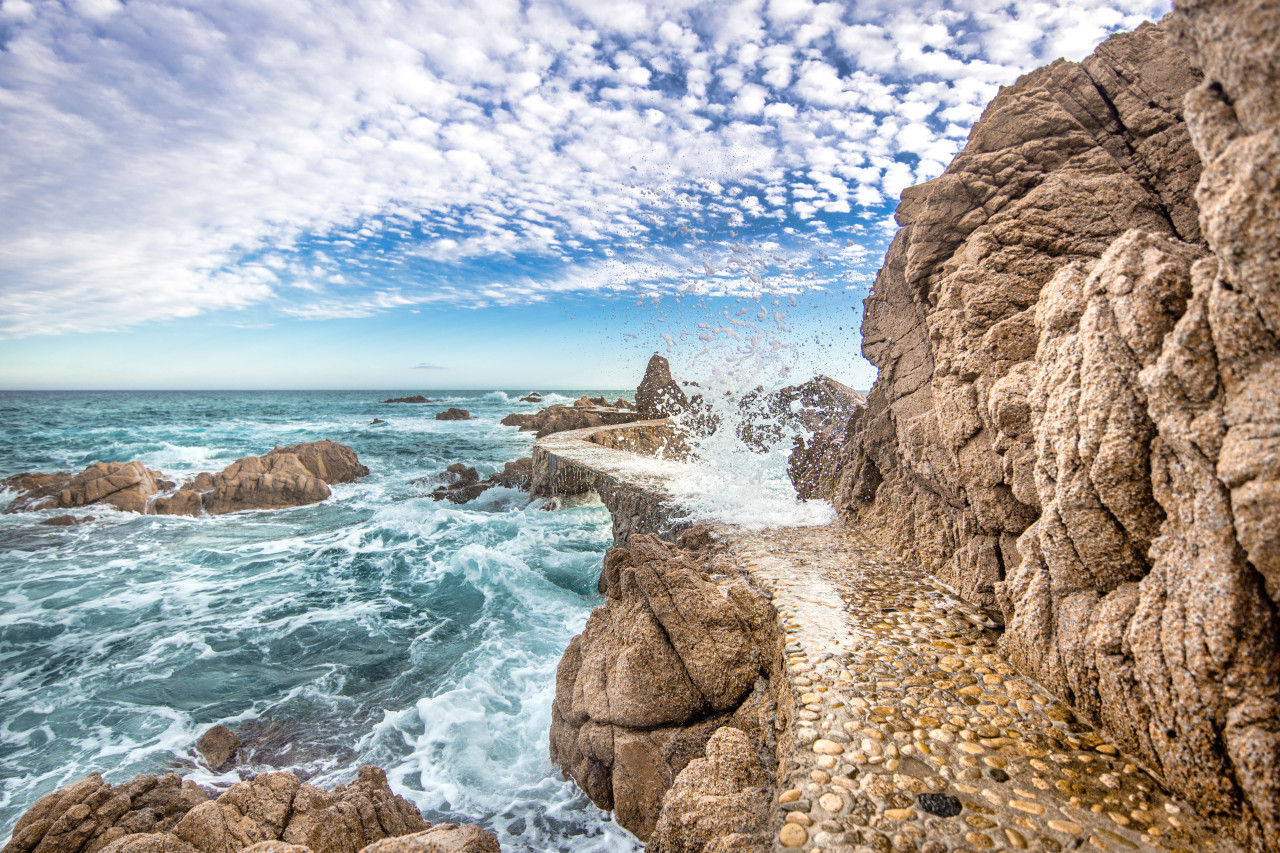 Bridge in the sea at Canyet de Mar Panorama
