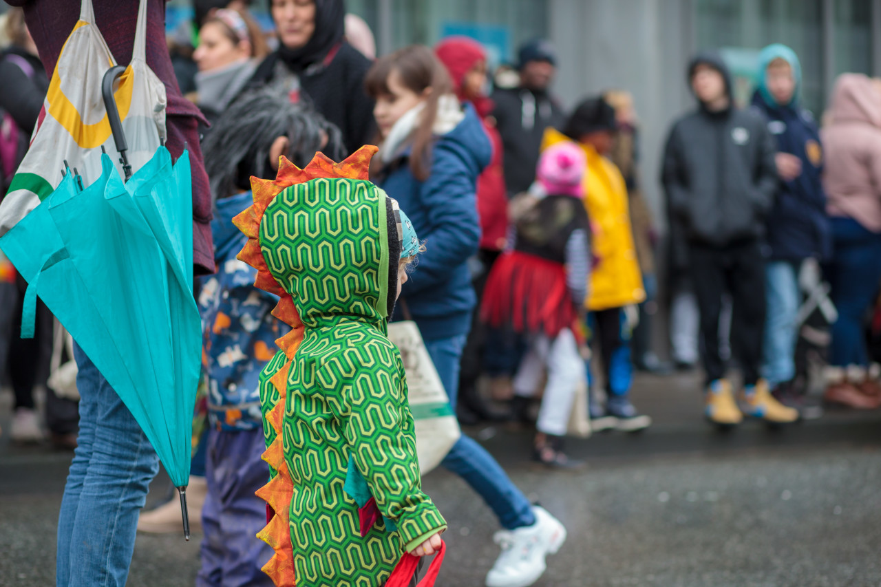 Child in dragon costume during the carnival