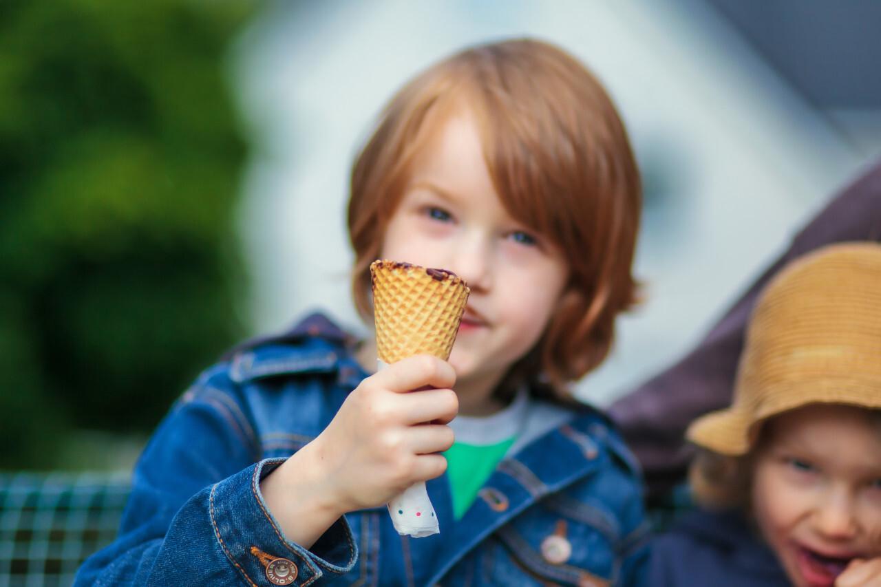 Boy with chocolate ice cream