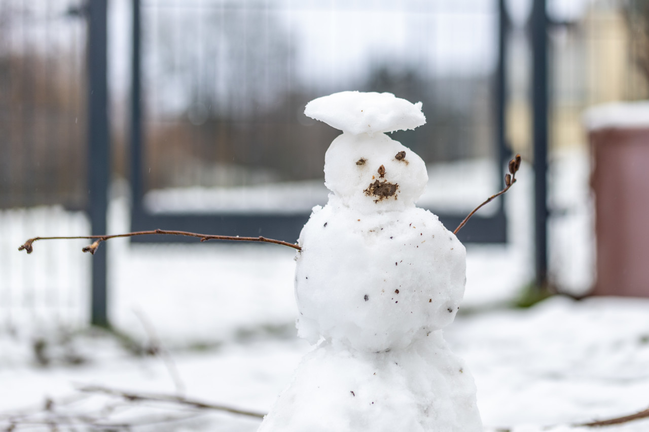 Snowman with a muddy face