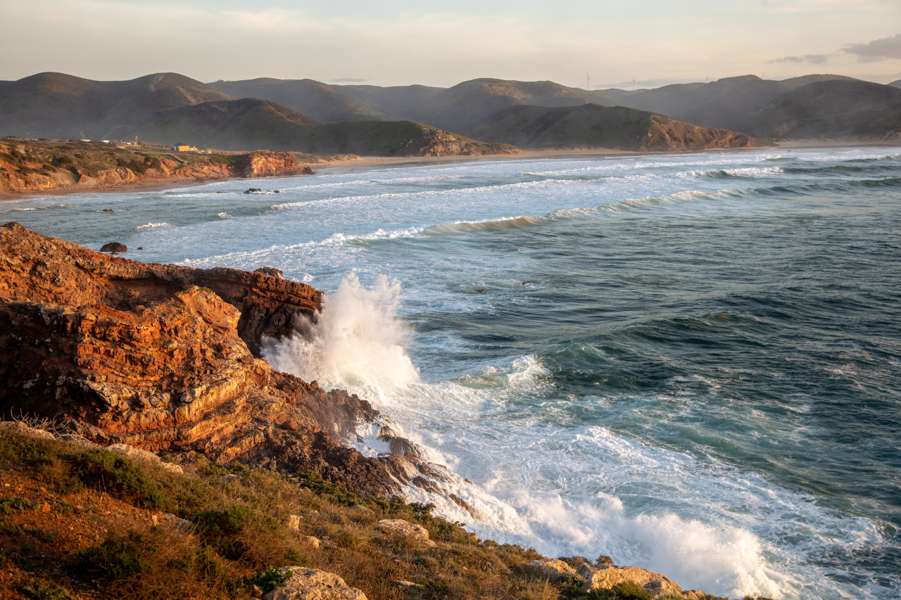 Waves hit the coast of Portugal Seascape