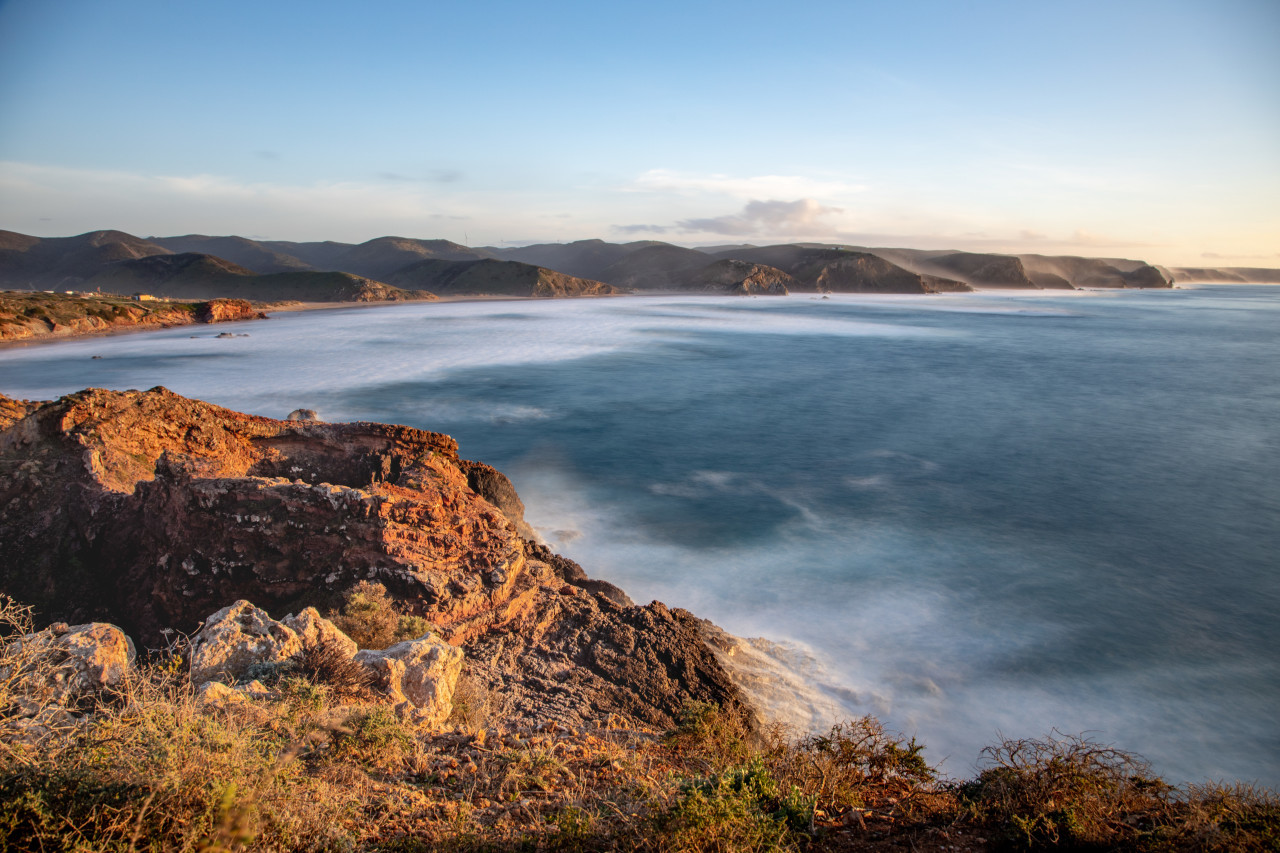 Atlantic ocean Portugal seascape with mountains