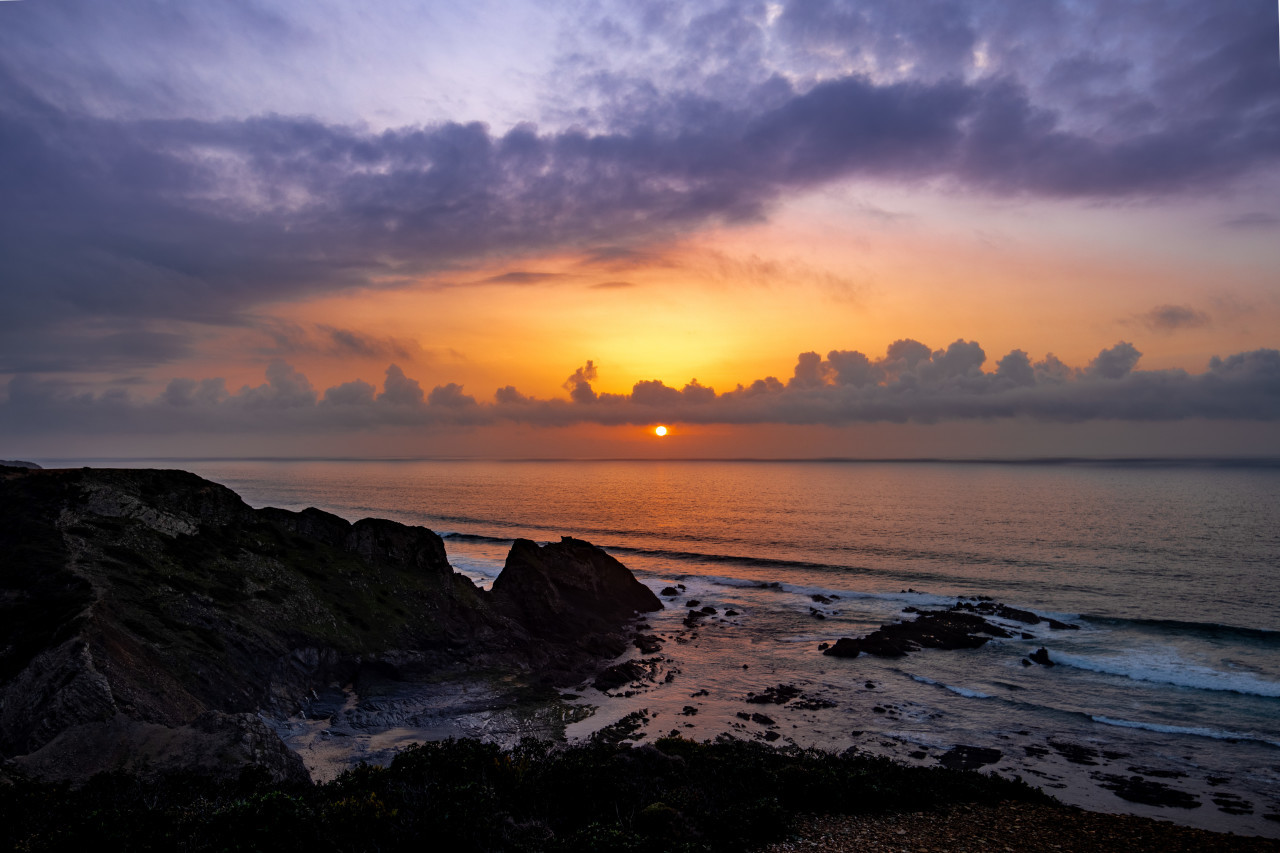 Magnificent sunset over the sea of Portugal