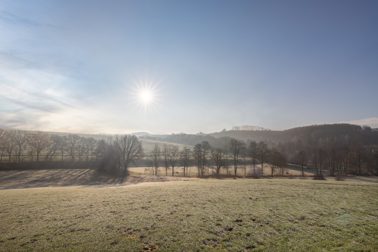 Frosty rural Landscape in Germany by Neviges NRW