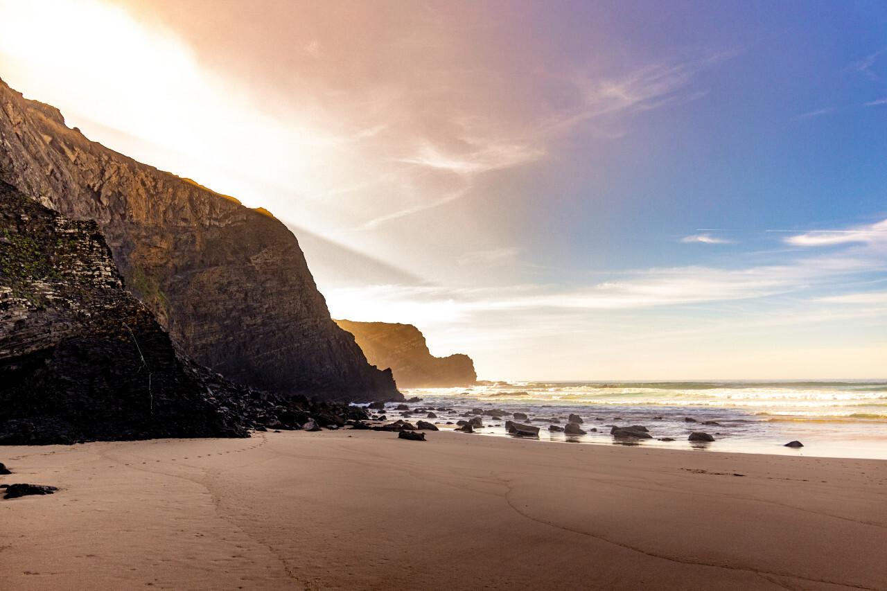 Ribat da Arrifana Aljezur Portugal Seacape with cliffs