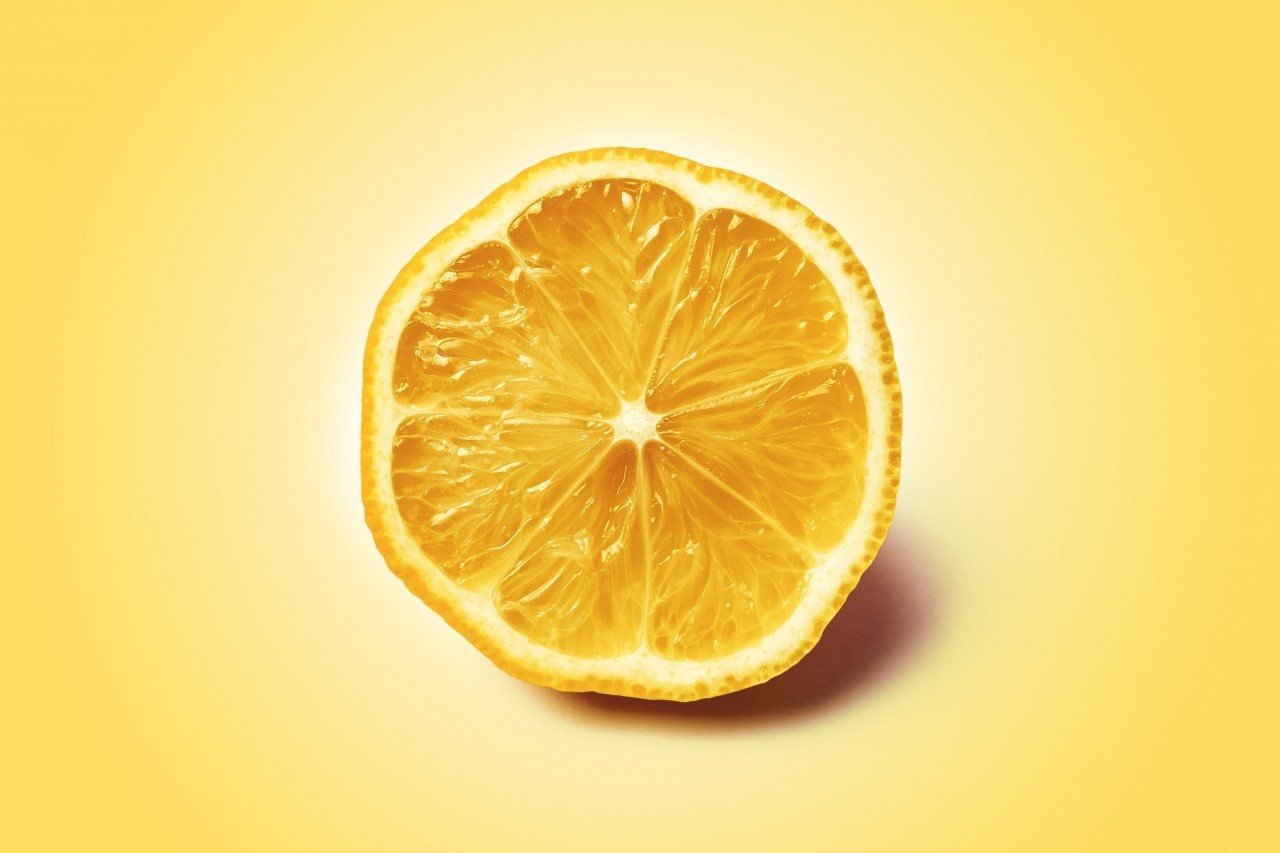 lemon slice yellow background