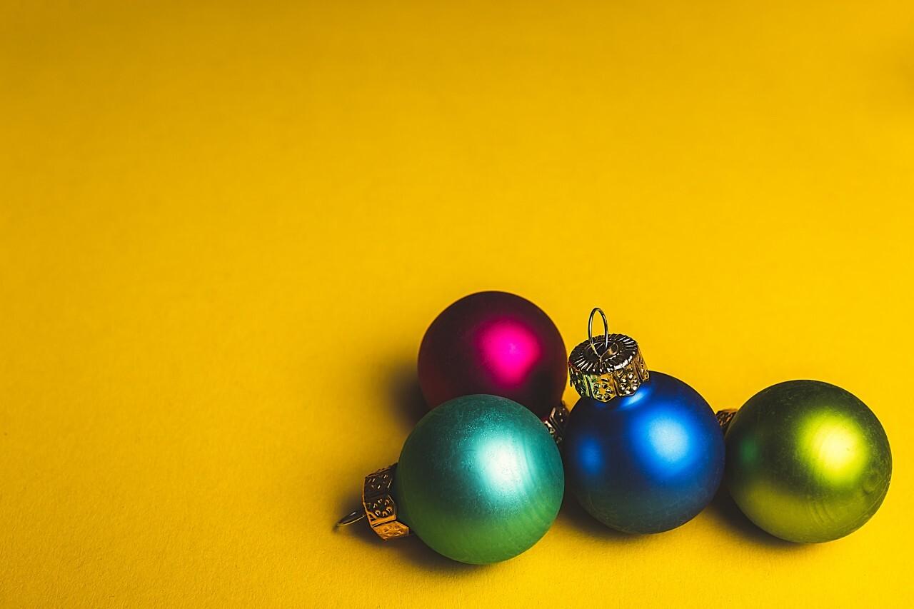 christmas tree balls yellow background