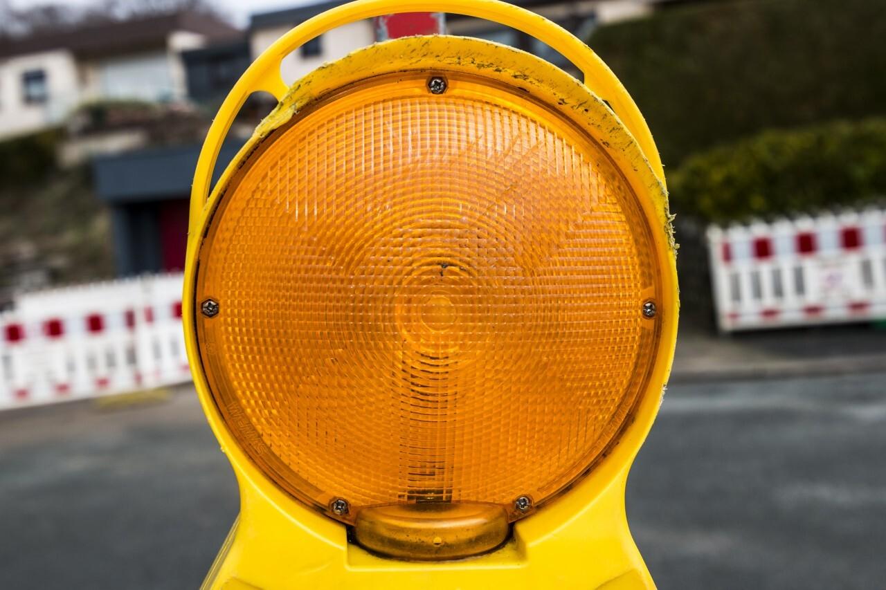 construction site warning light close up