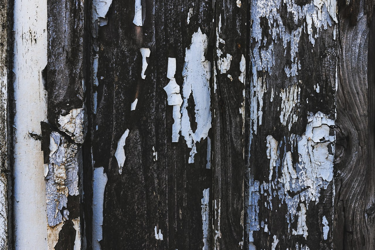 color dissolves from weathered wood texture
