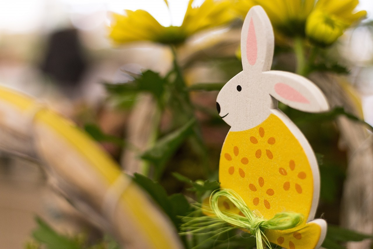 cute wooden colorful easter bunny decorative