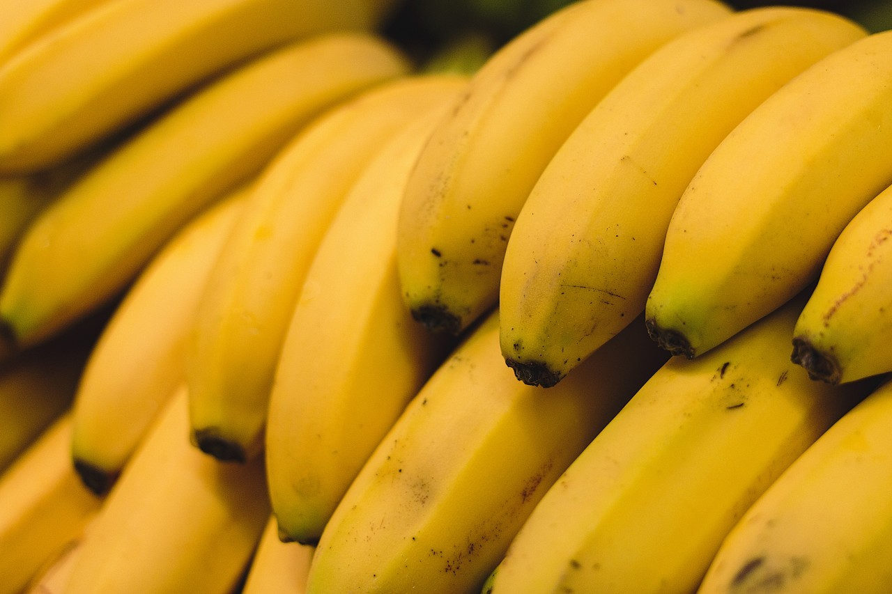 yellow bananas from the market background