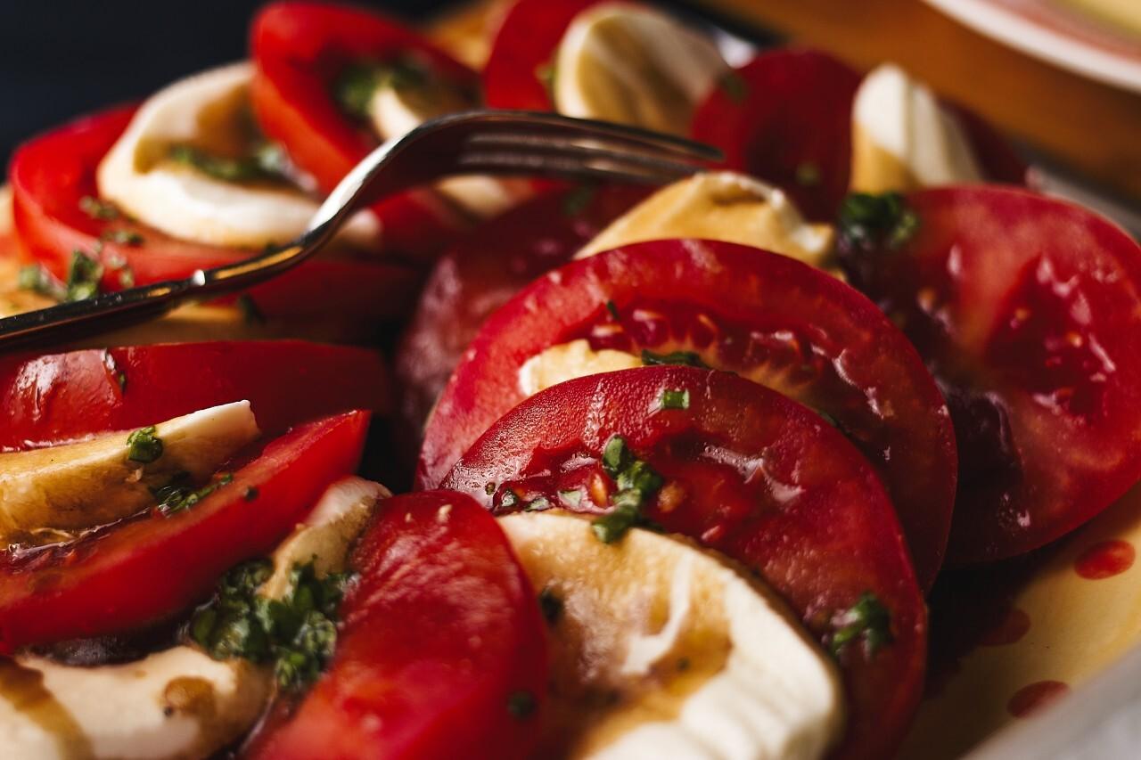 freshly harvested tomato with mozzarella
