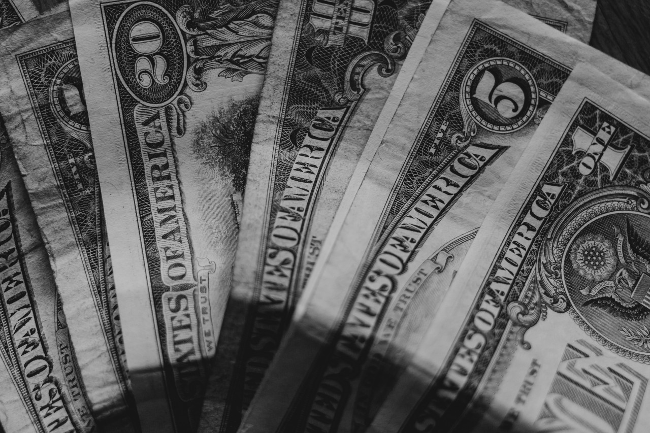 dollar bank notes black and white