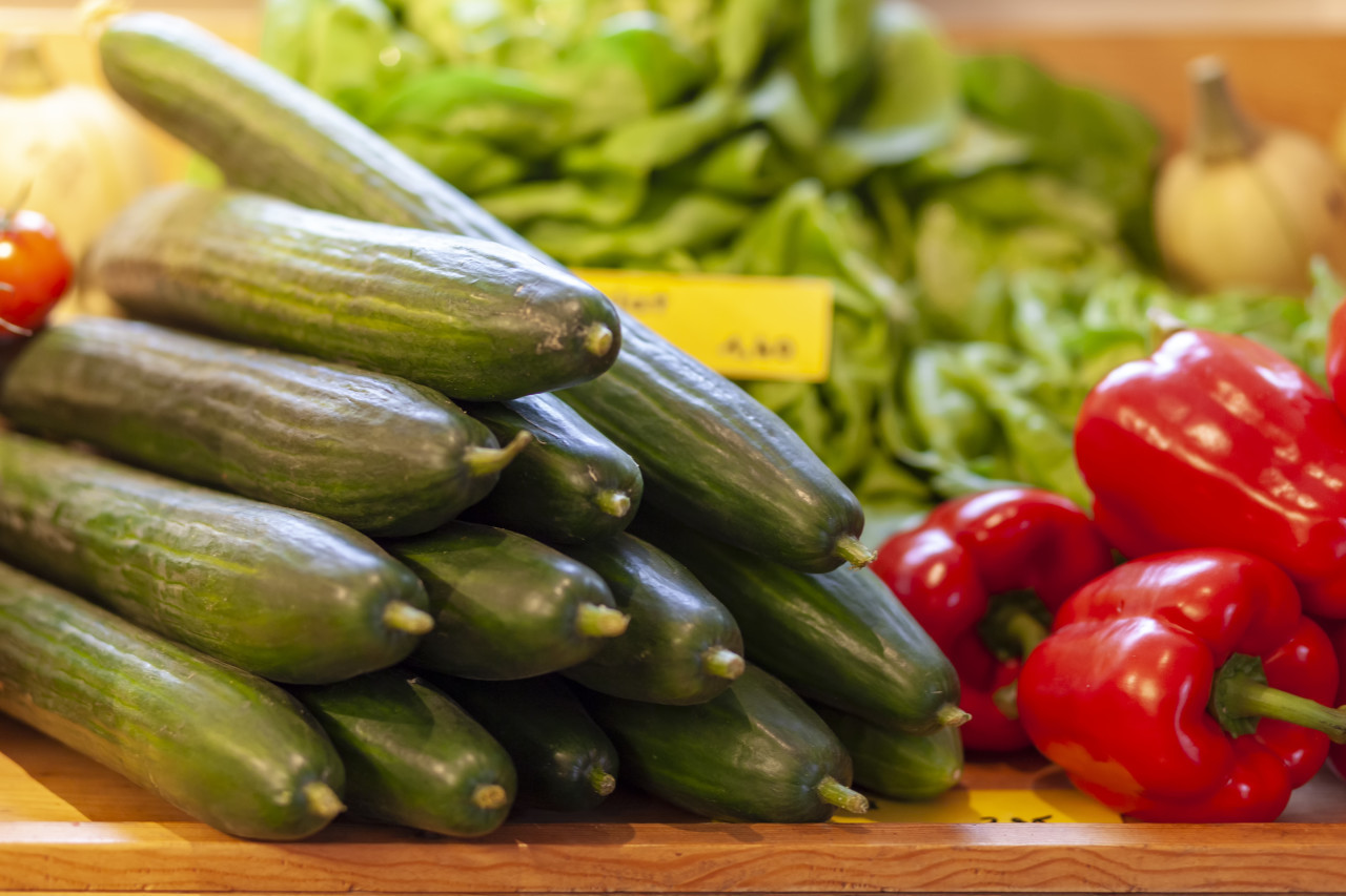 cucumbers and red pepper