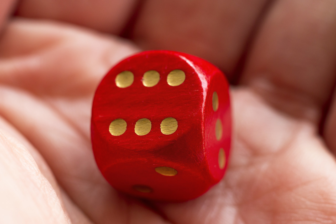Roll the dice - six diced in hand