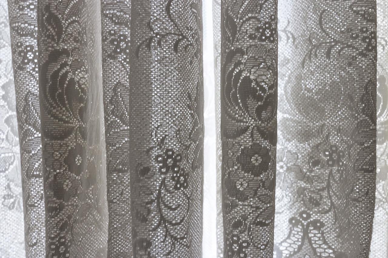 white transparent curtains
