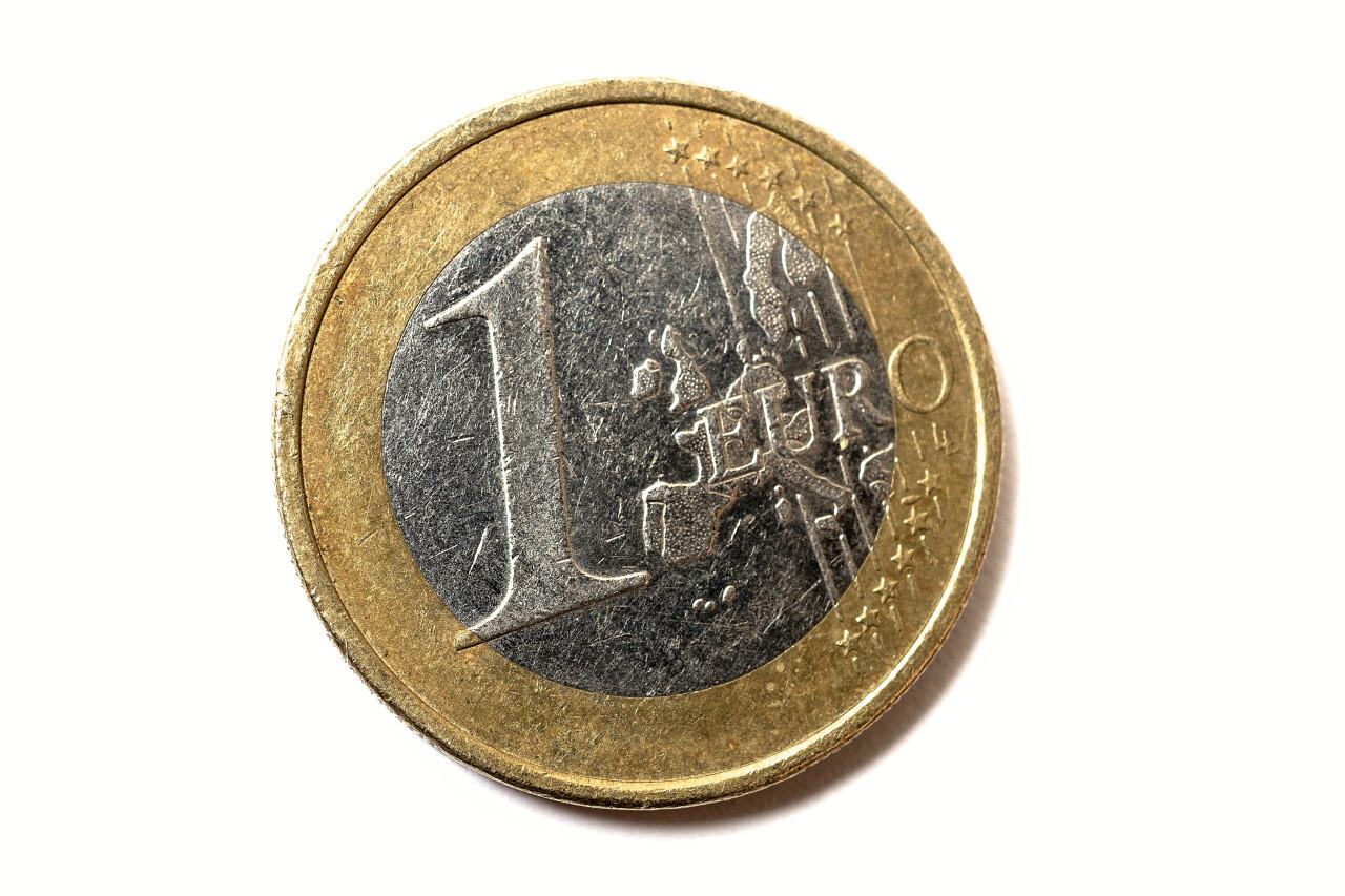 1 euro coin on white background