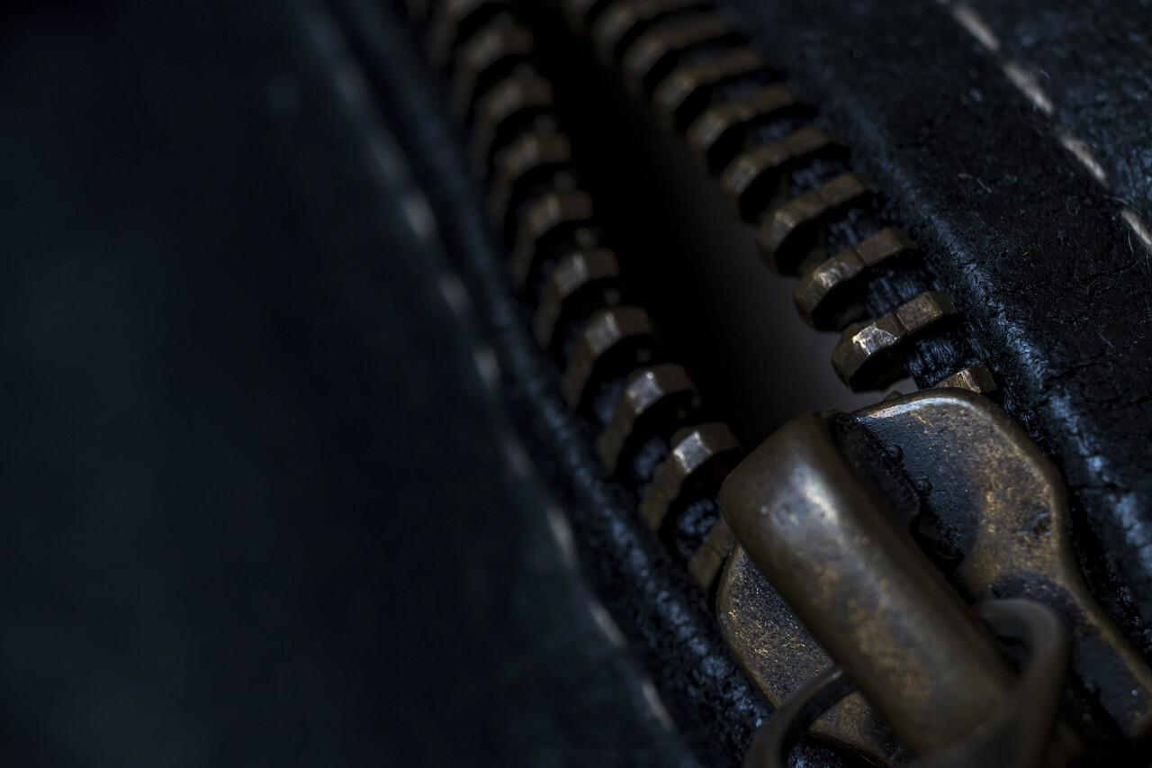 zipper black leather texture background