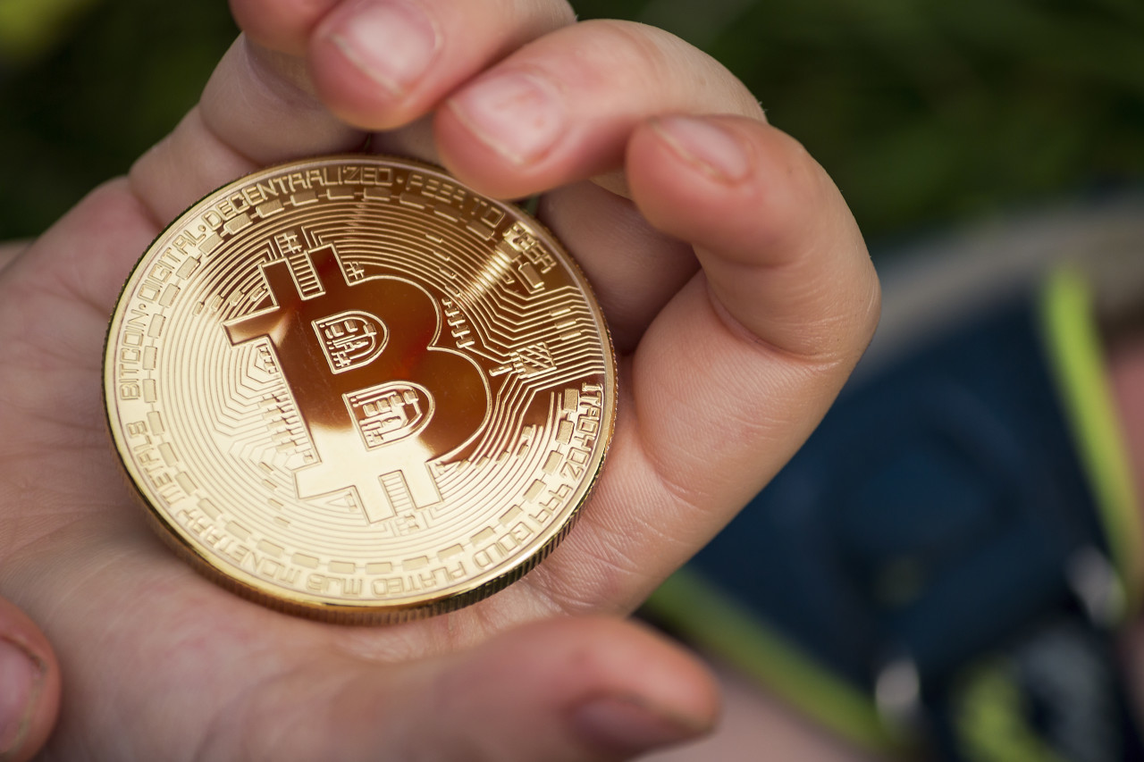 bitcoin coin children hands