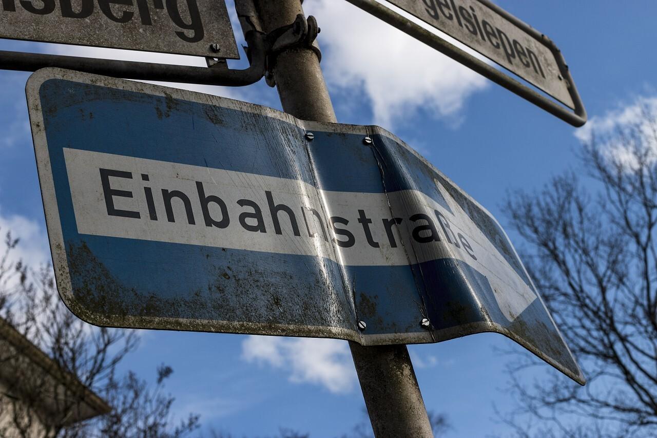german street sign / road traffic sign einbahnstrasse