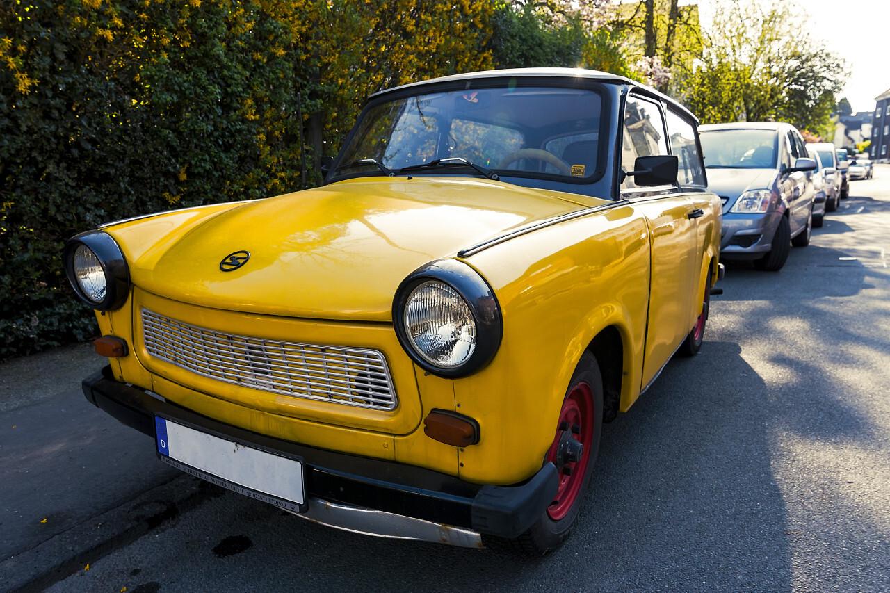 yellow trabant oldtimer classic car
