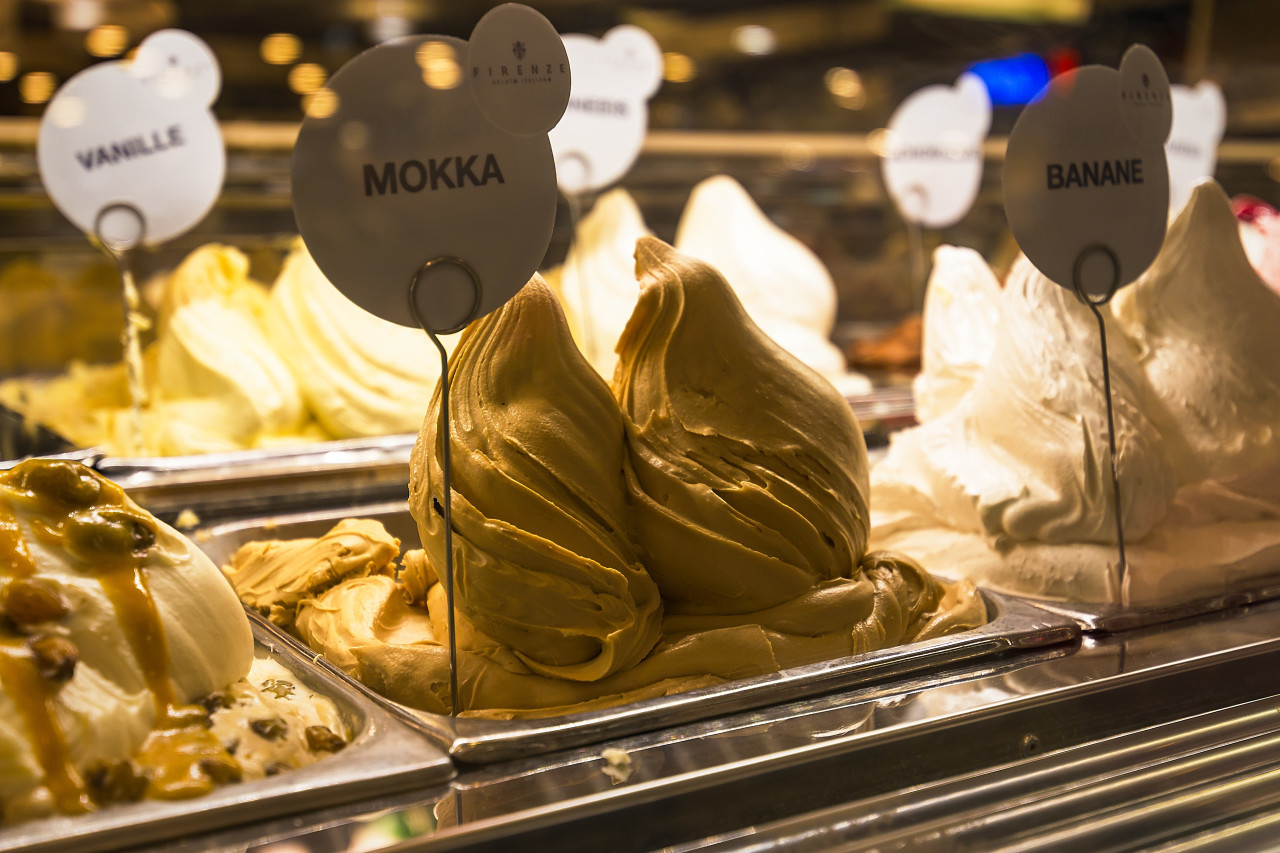 mocha ice cream at the counter