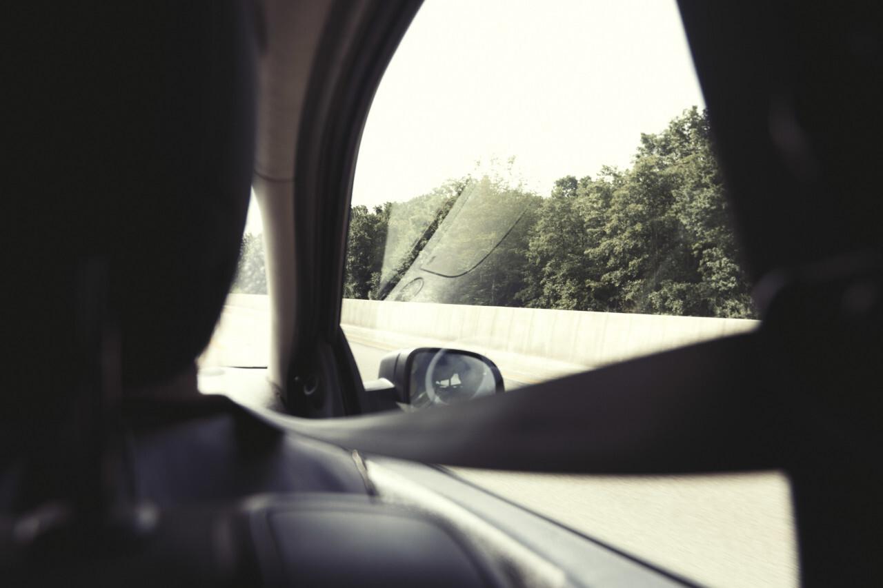 inside a moving car