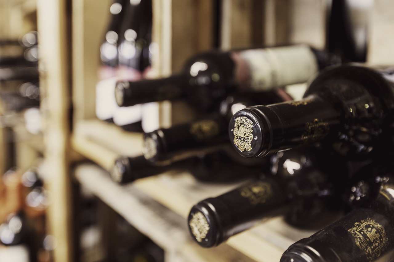 wine bottles in the wine cellar