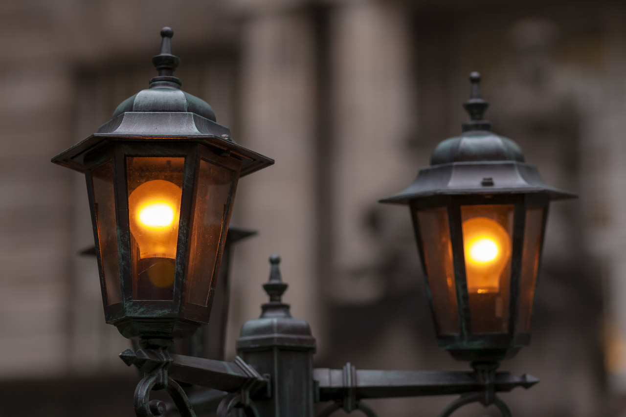 Beautiful streetlight in front of a old building in germany