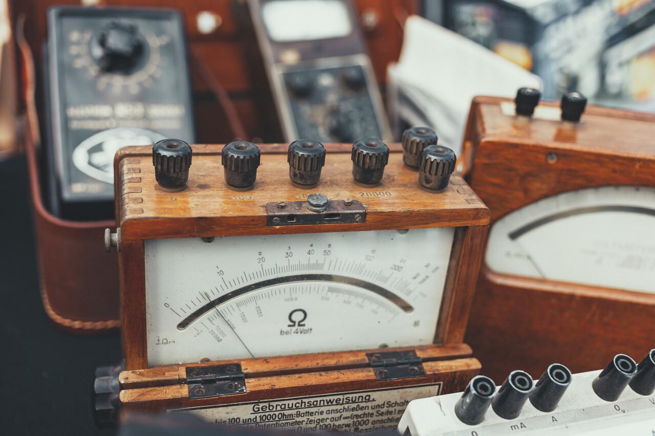 old vintage power measuring instrument or ammeters on a flea market