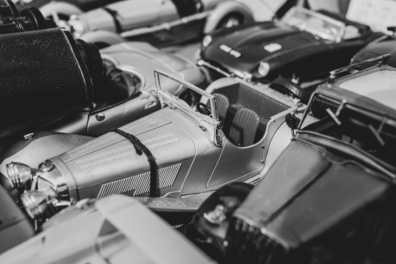 toy cars on a flea market