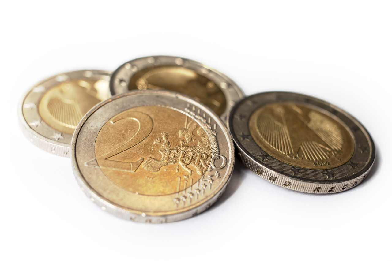 two euro coins isolated on white background