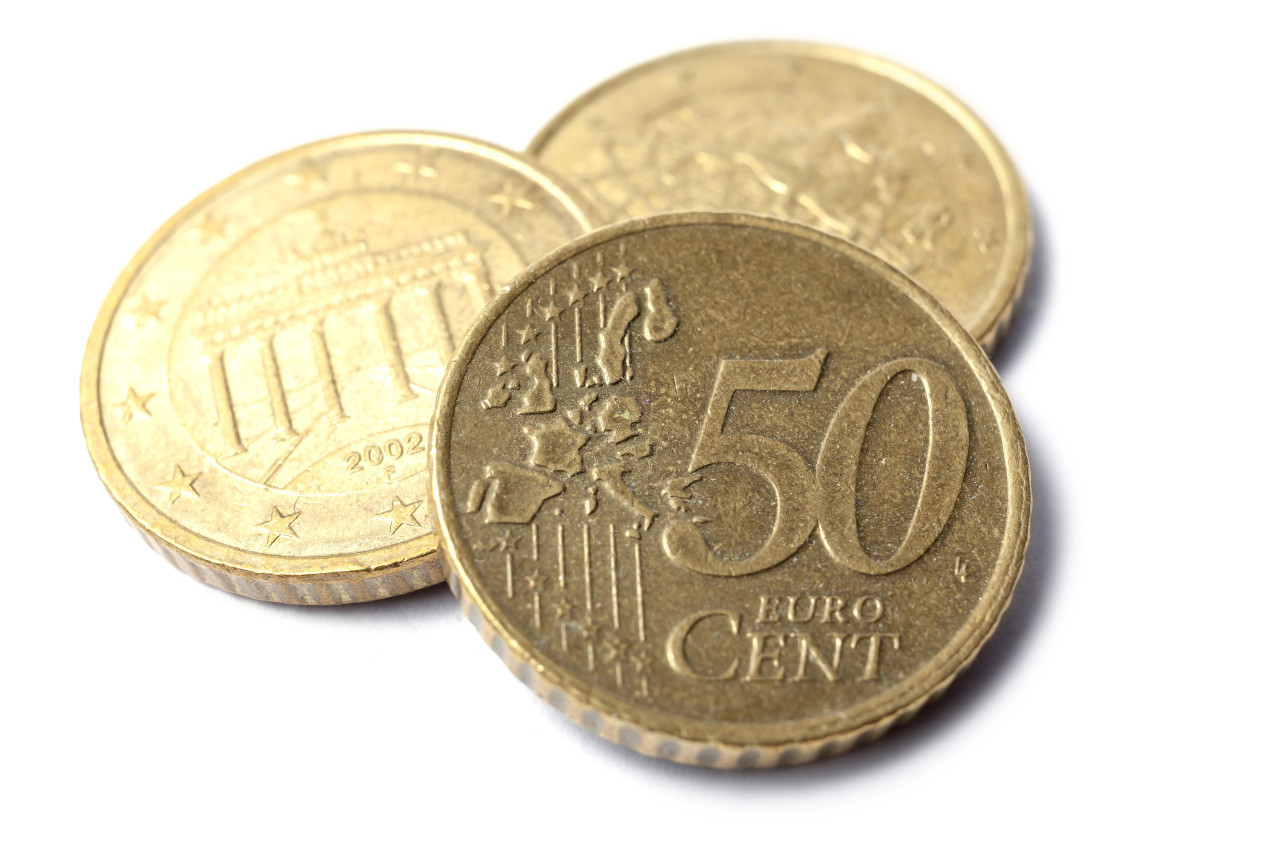 50 euro cent isolated on white background, standing