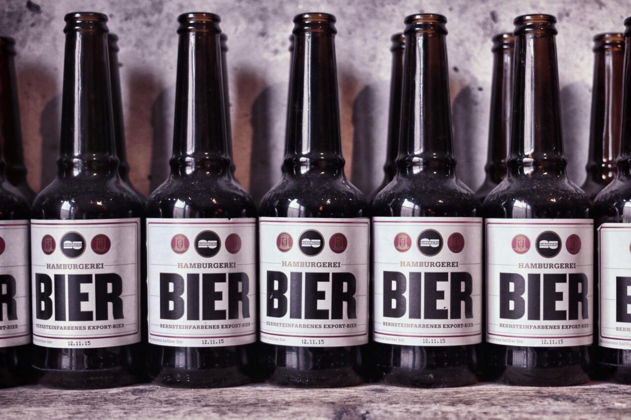 Beer bottles in a row