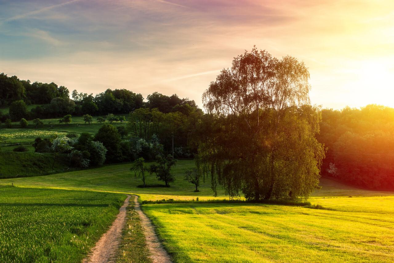 Sunset over the fields of Melsungen