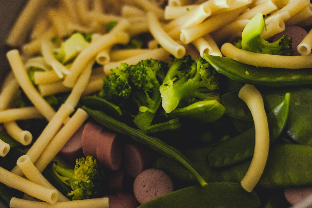 noodles broccoli and sausages