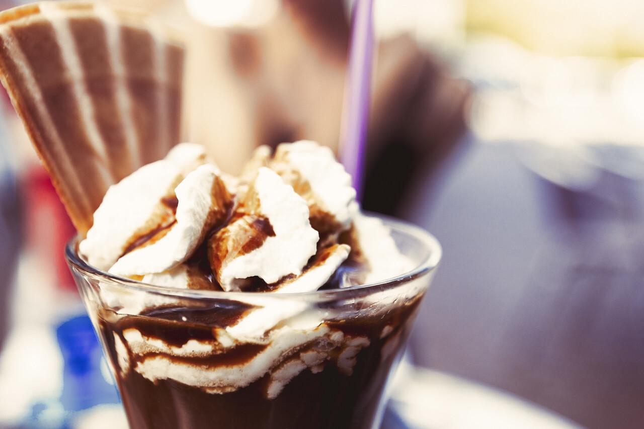 iced coffee cup in the ice cream parlor ice cream sundae