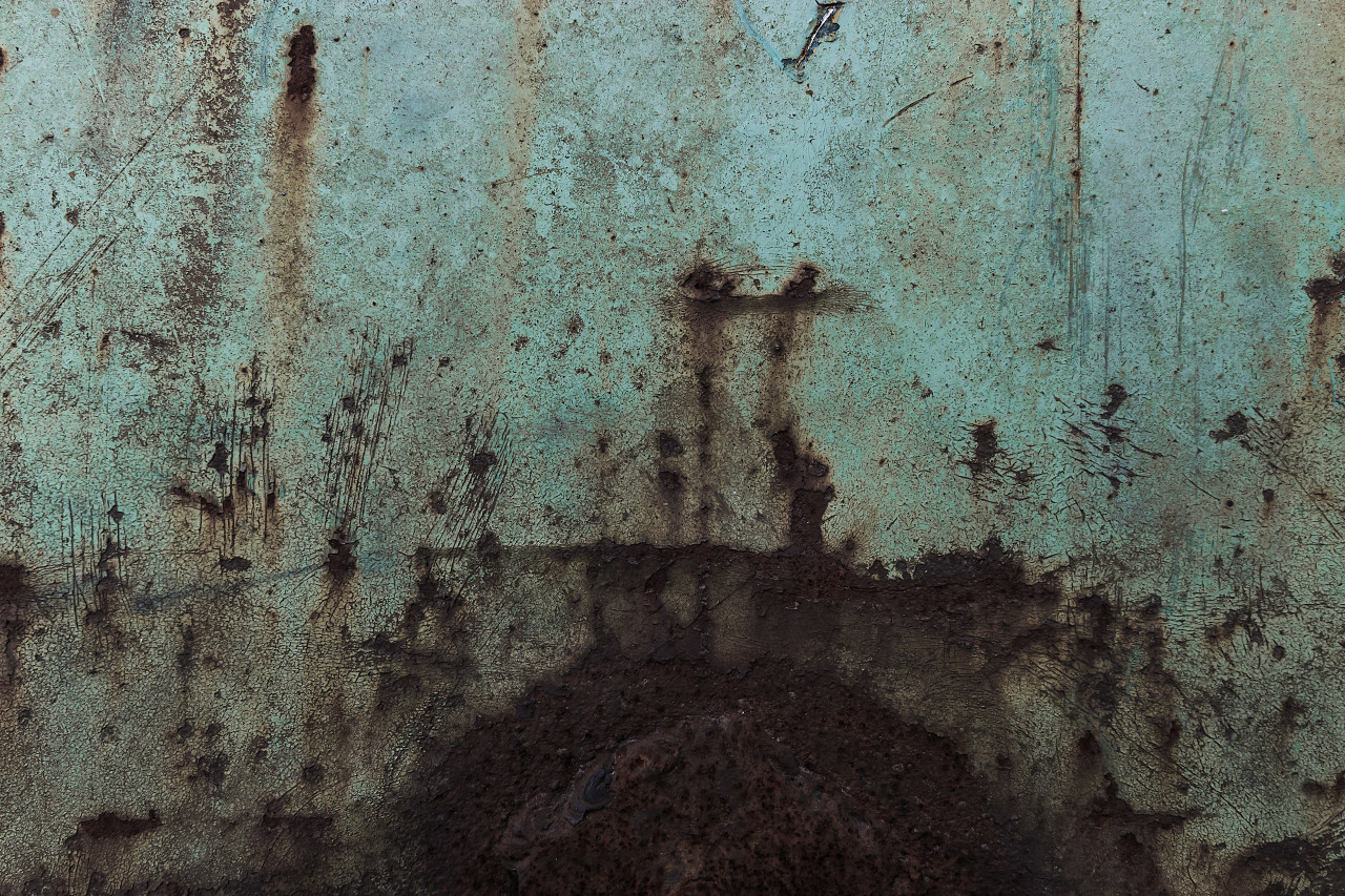 turquoise painted rusty metal texture