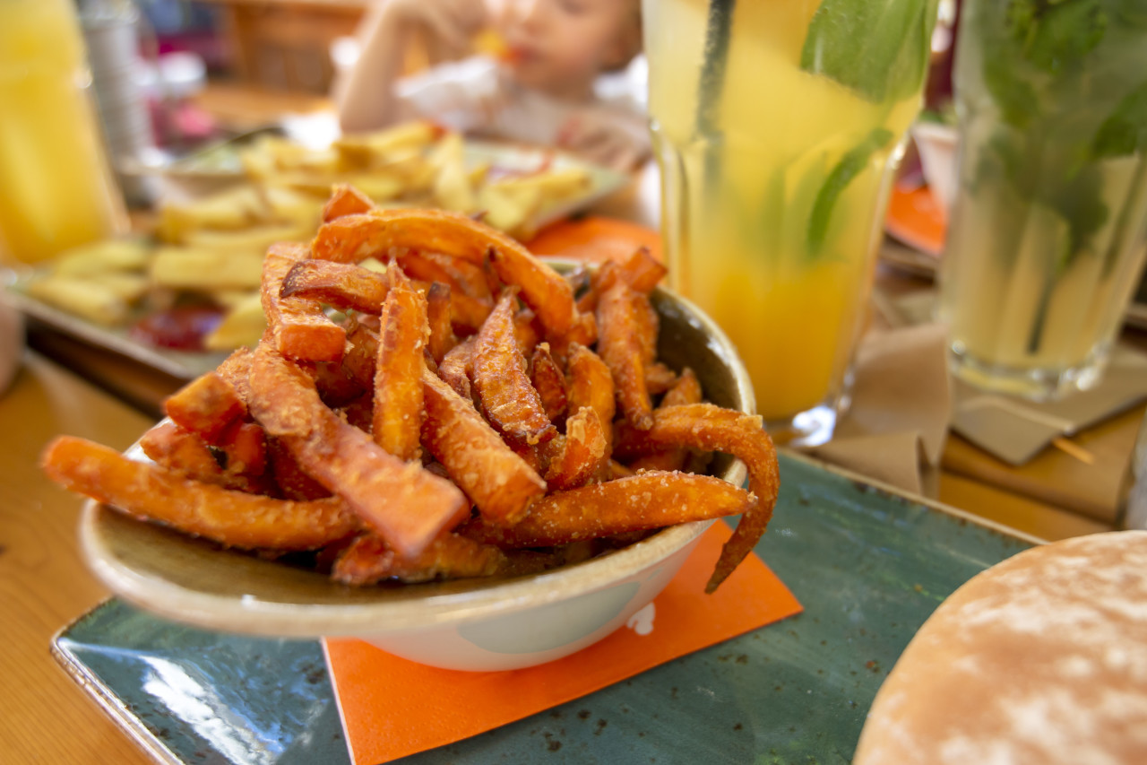 sweet potato french fries in a restaurant