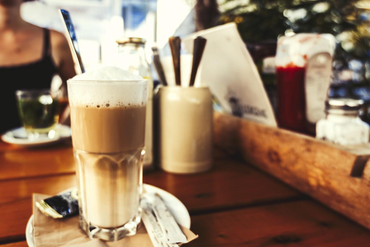 latte macchiato in the restaurant garden