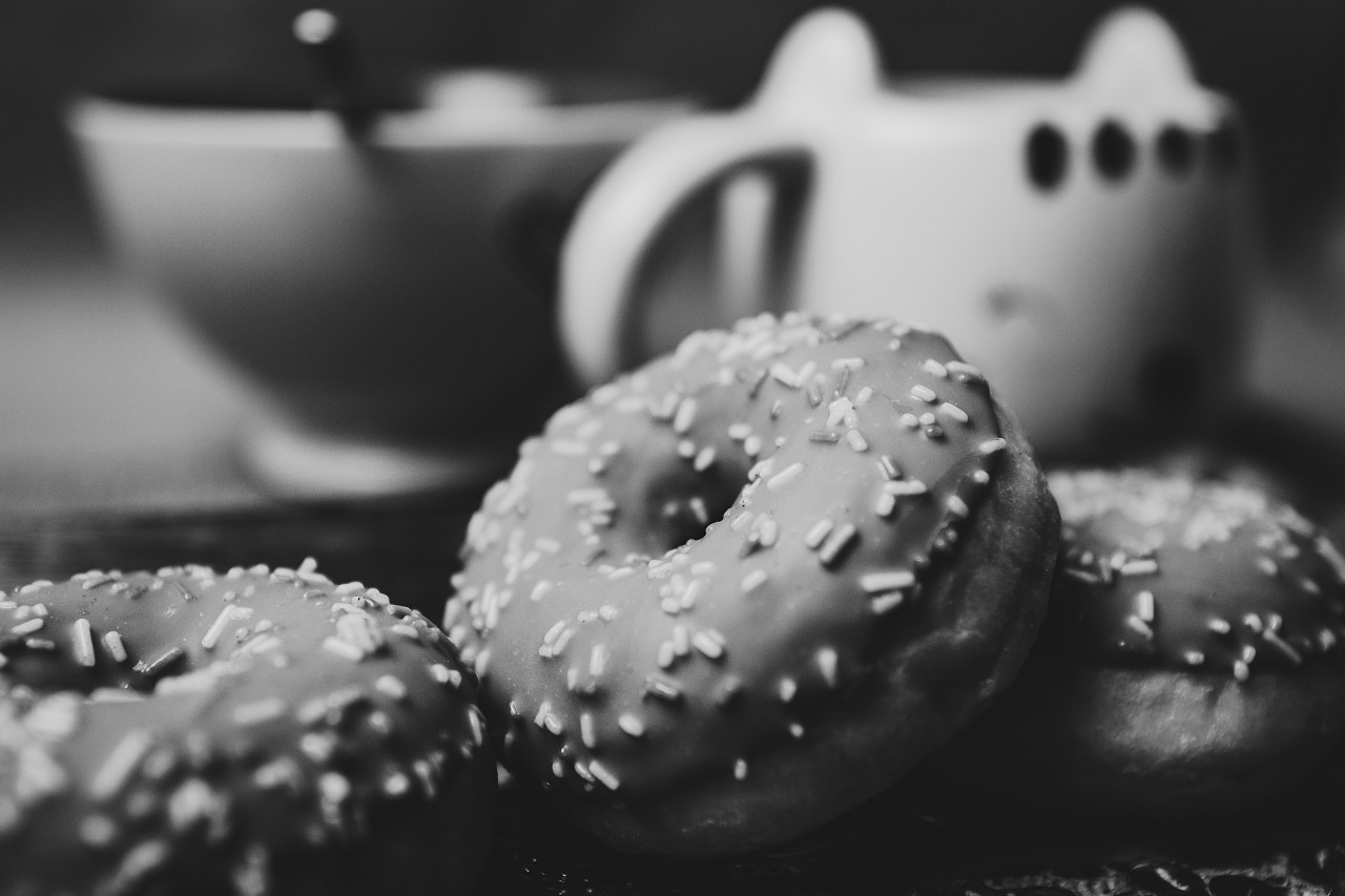 black and white donuts