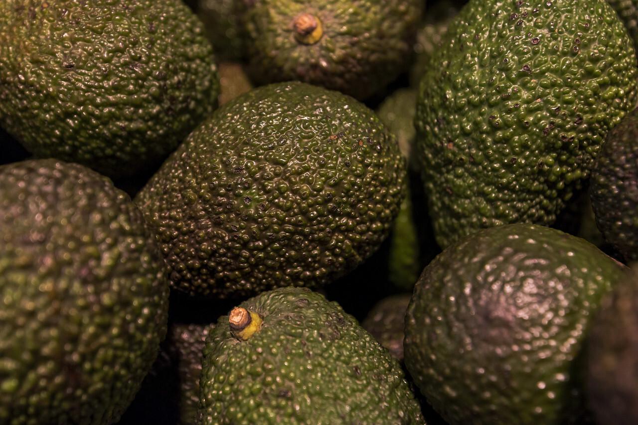 avocados in a market box