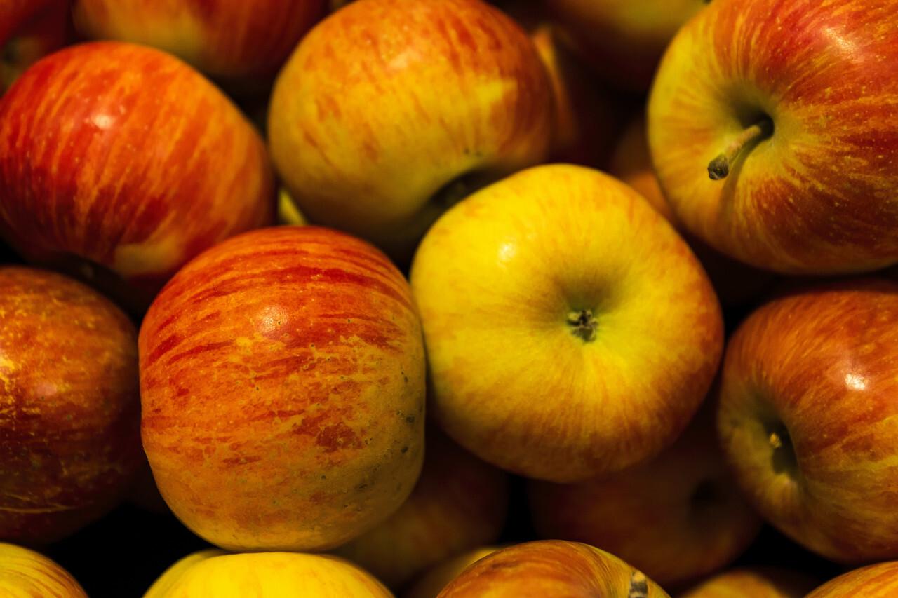 fresh apples yellow red