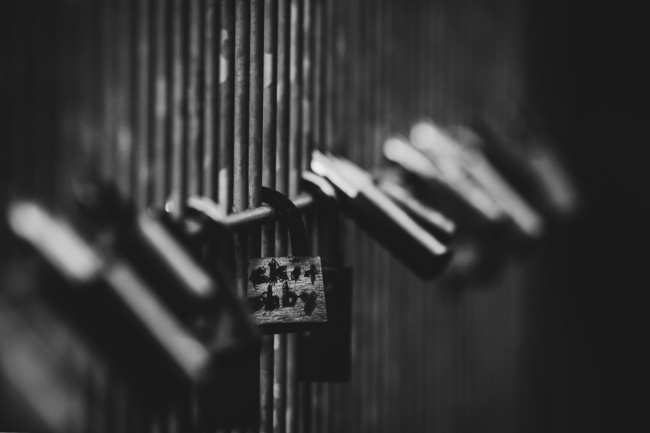 love locks black and white