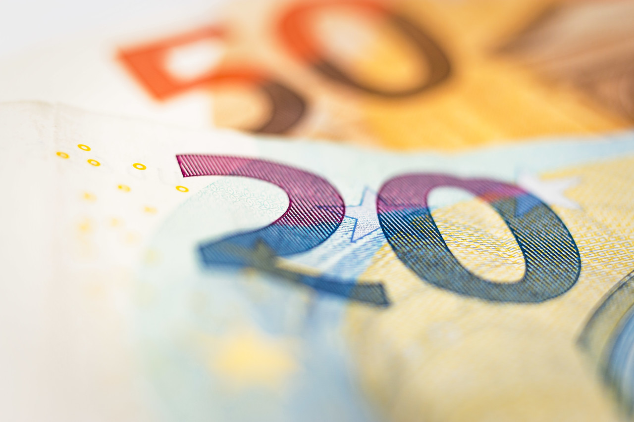 euro banknotes close-up - 20 euro and 50 euro background