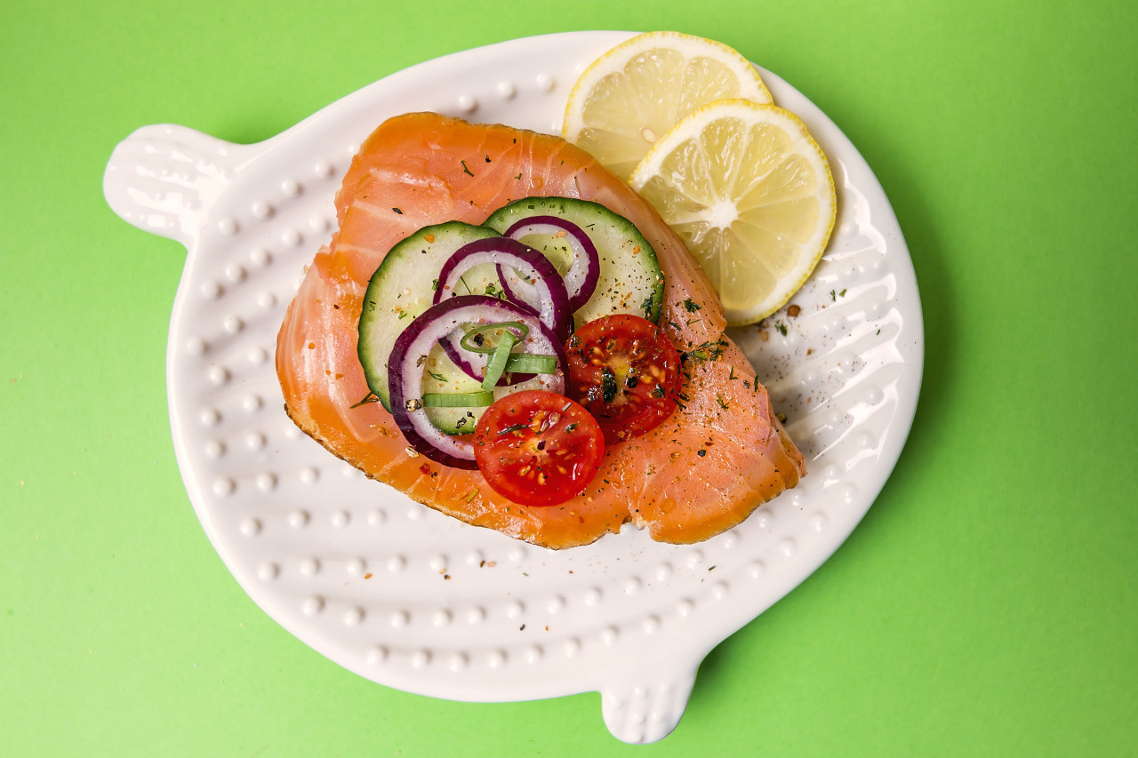 sandwich with salmon green background