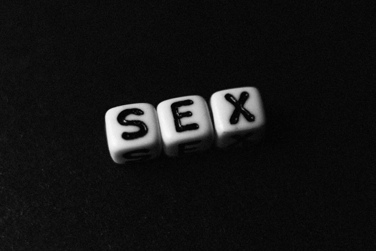 sex letters black background
