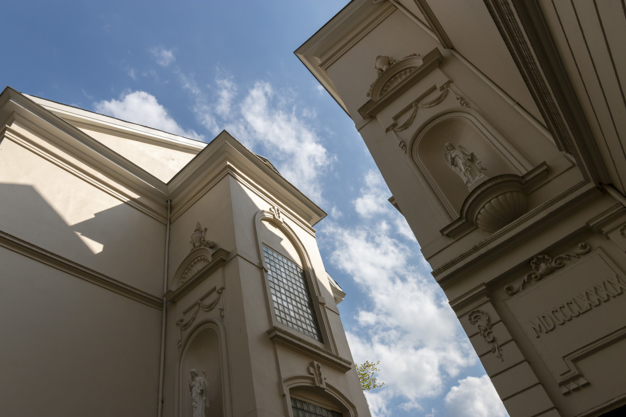 beautiful building with angels stucco