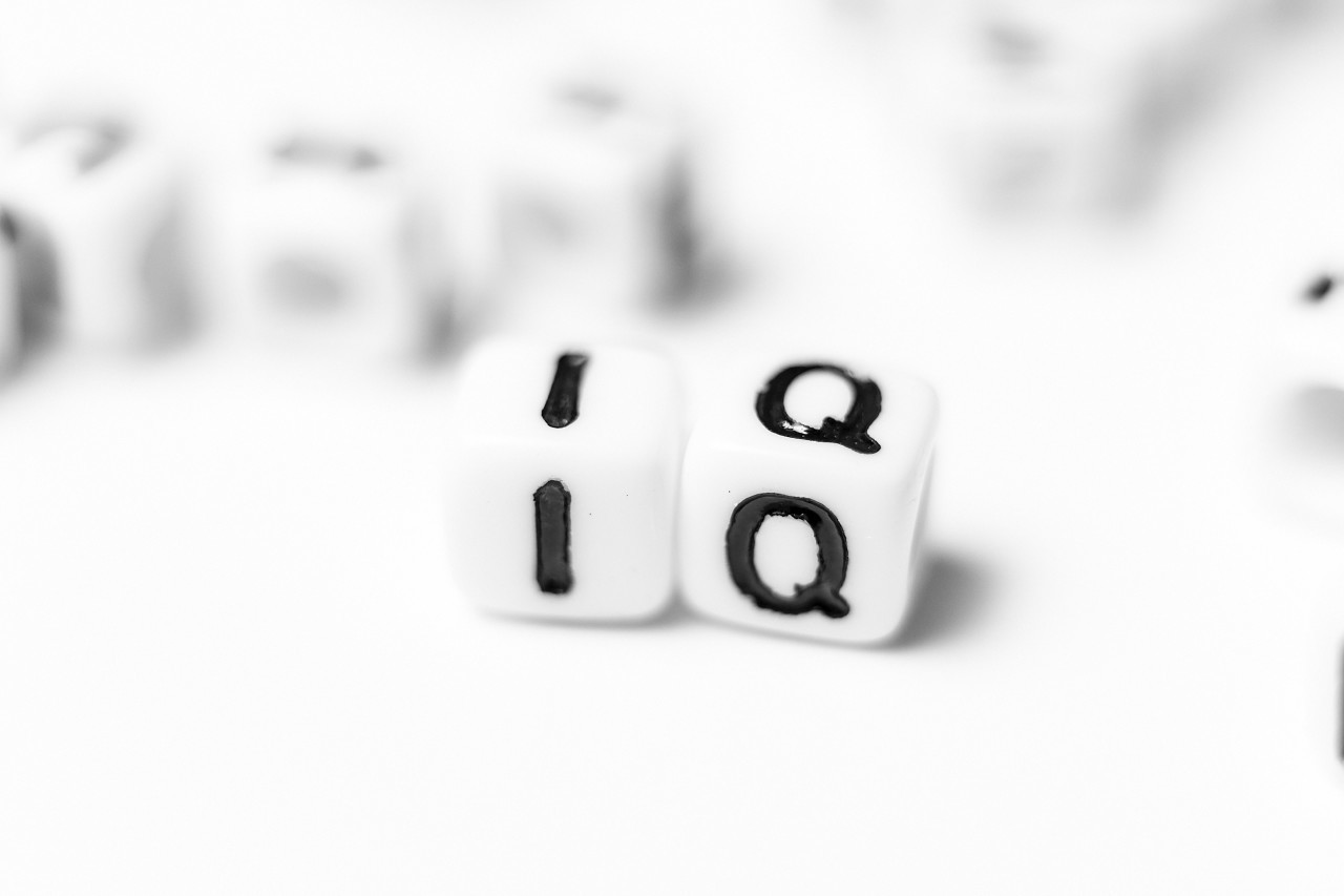 IQ - intelligence quotient - bright dice font concept