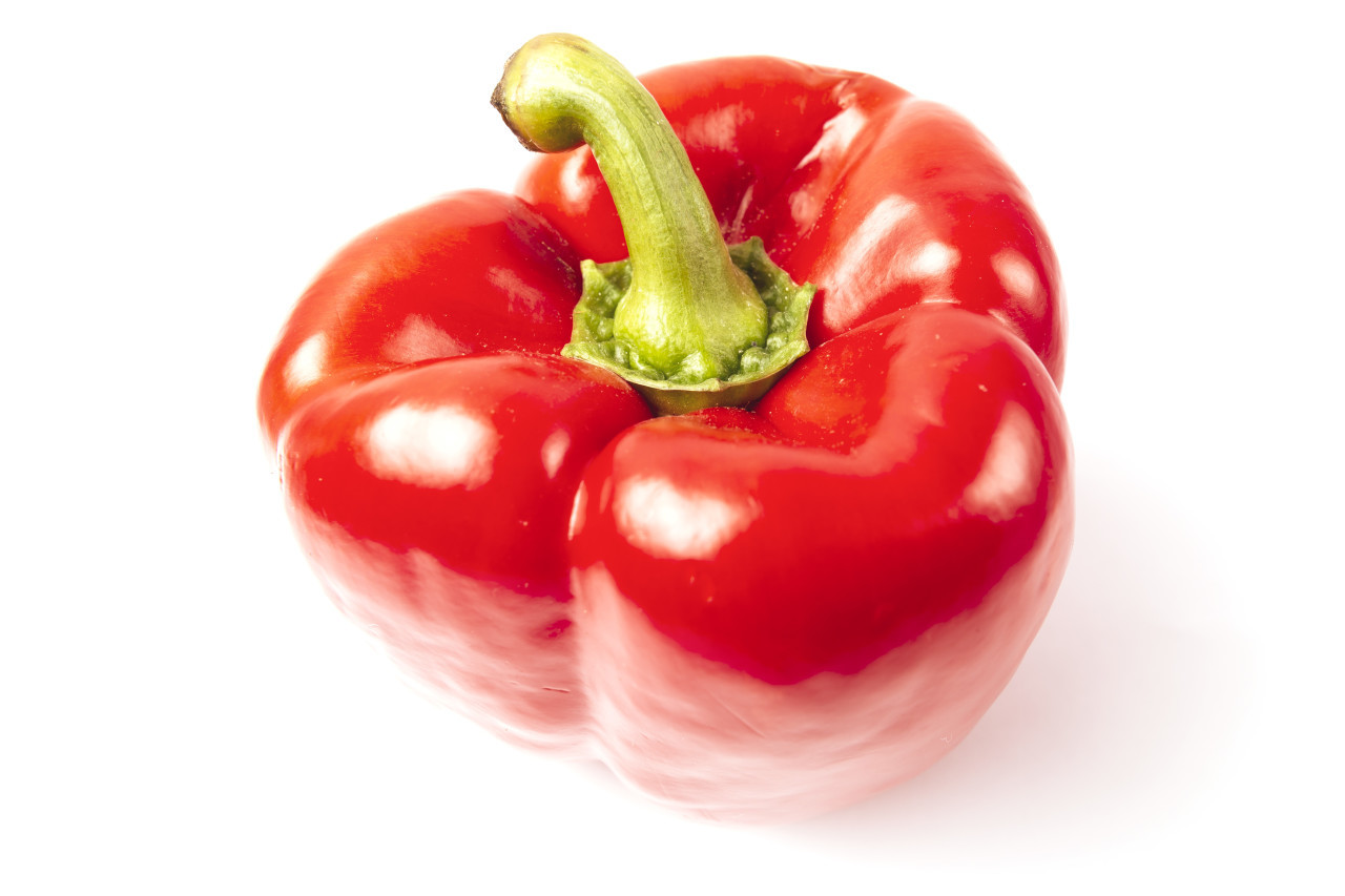 red sweet pepper on a white background